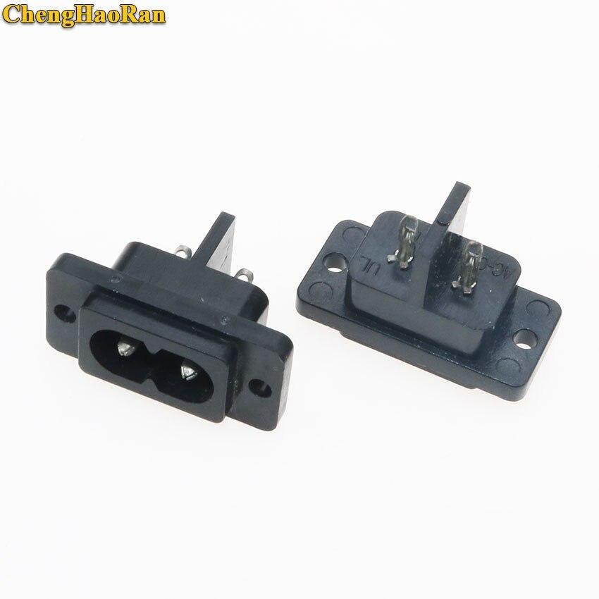 Conector de toma de corriente AC ChengHaoRan 1 Uds 2 pines IEC 320 C8 enchufes eléctricos de repuesto AC