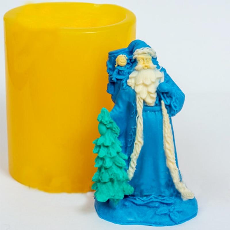 3D عيد الميلاد العفن سانتا كلوز الصابون قوالب الغذاء الصف الأب الصقيع العفن للصابون الروسية سانتا قوالب السنة الجديدة الشموع العفن PRZY