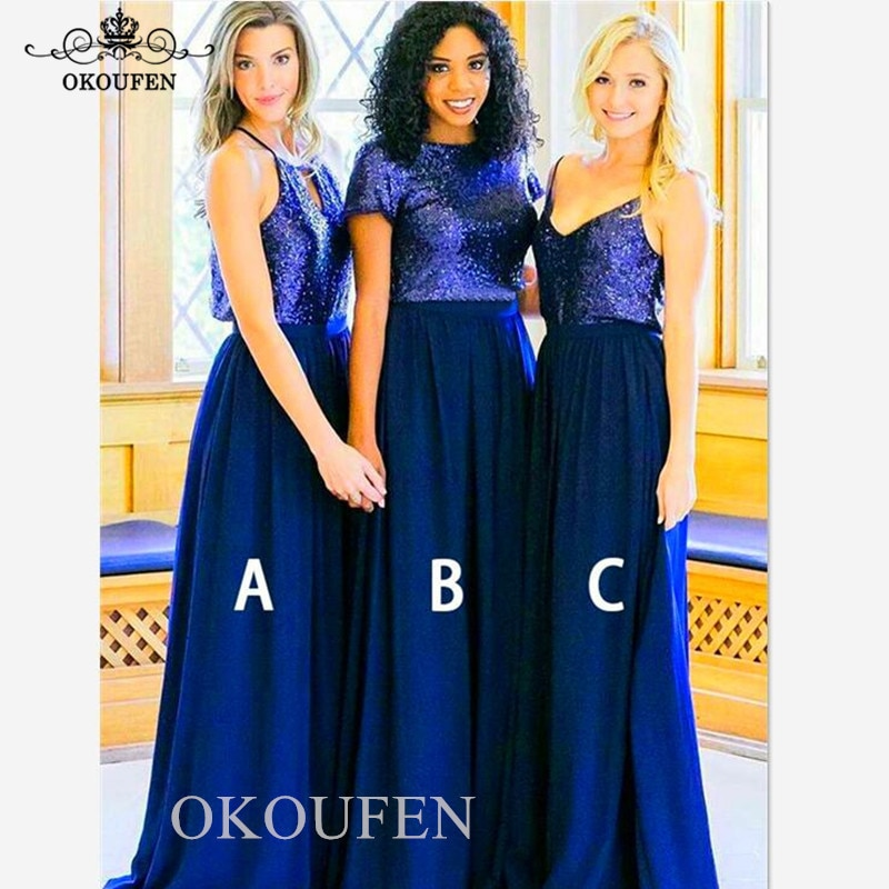 Искрящиеся с блестками Королевский синий шифоновое платье для подружки невесты