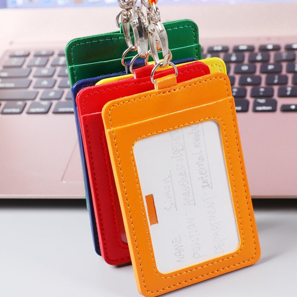 Из искусственной кожи держатель для карт с веревочным шнурком рабочие карты рукав ID значок чехол прозрачный держатель для банковской кредитной карты держатель для карт крышка офисные принадлежности
