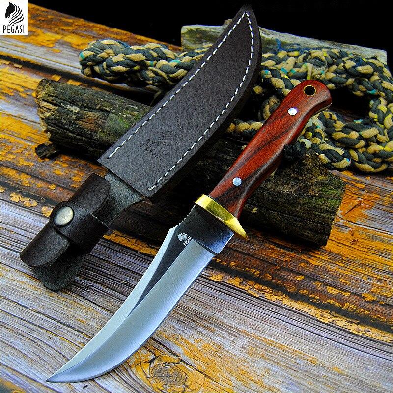 Pegasus 7HR15MOV cuchillo táctico recto cuchillo de caza afilado norteamericano cuchillo de defensa personal al aire libre cuchillo de rebanada para el hogar + funda