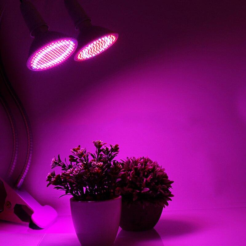 Cresce A Luz LED 200 Leds Lâmpada Lâmpada Para Plantas Duas Luzes E27 Fito Fitolampy Espectro Completo Com Desck Clipe Interior mudas Crescem