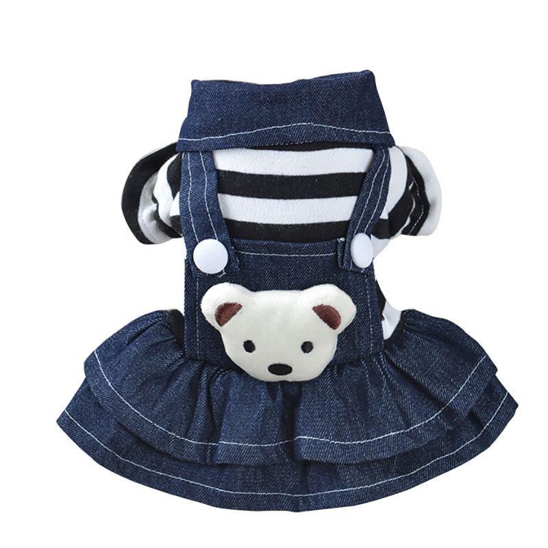 Платье в белый горошек с изображением щенка; Джинсовая юбка с бретельками для кошек; Одежда для собак; одежда для щенков; Размер XS-XL