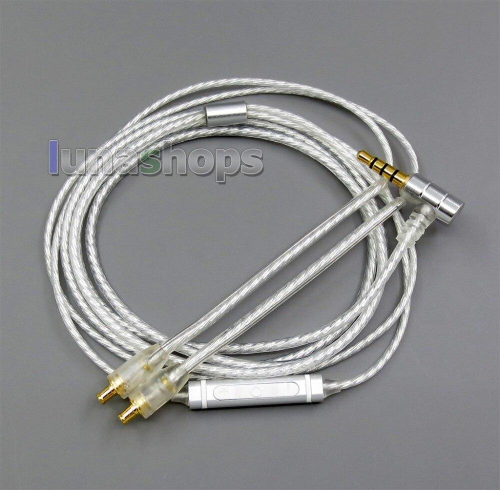 Ln006034 que protege o cabo chapeado prata puro remoto do fone de ouvido do mic para audio-technica ATH-LS50 e40 50 hdc313a ckr90 cks1100 a2dc