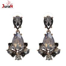 JURAN 2019 New Arrival Earrings Austrian Crystal Women 3 Colors Earrings Stone Black Blue Bijoux Chrismas Anniversary Gift E2310