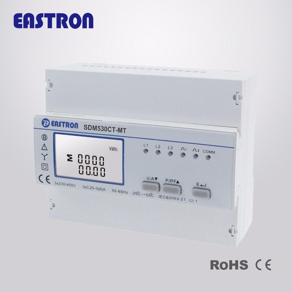 SDM530CT-MT, 1/5A, Multi tarifas, multifunción, medidor de energía trifásico de cuatro cables Din Rail, RS485 Modbus RTU y salida de pulso