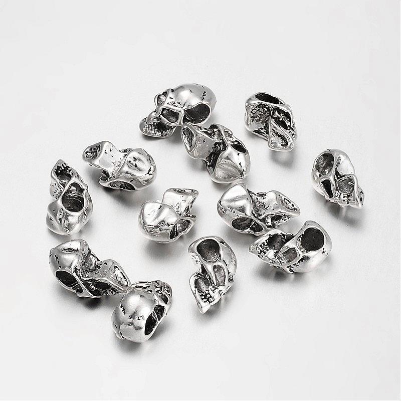200Pcs Tibetischen Stil Europäischen Schädel Perlen für Halloween Große Loch Perlen 17x9x10mm, loch 4mm