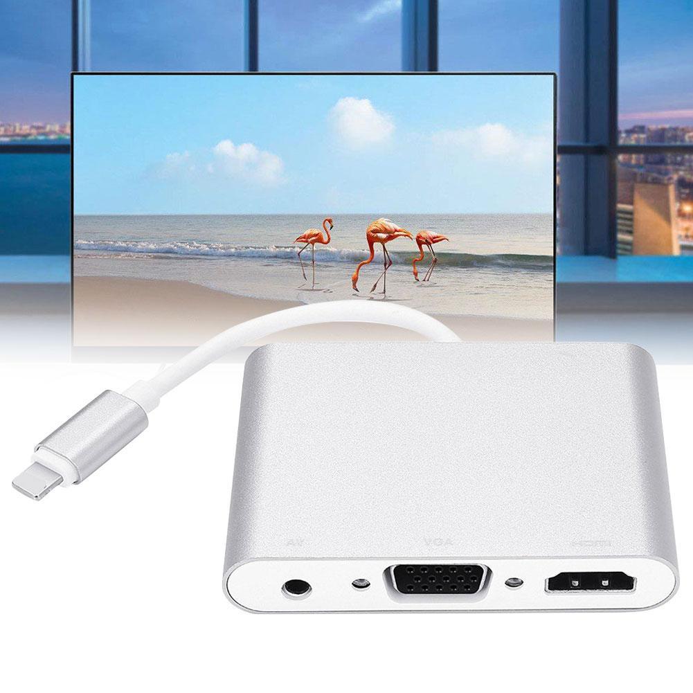 Nueva llegada HD 1080P 8Pin a HDMI VGA Audio Video Adaptador convertidor Cable para iPhone iPad