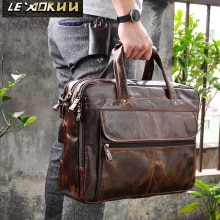 Men Oil Waxy Leather Antique Design Business Briefcase Laptop Document Case Fashion Attache Messenge