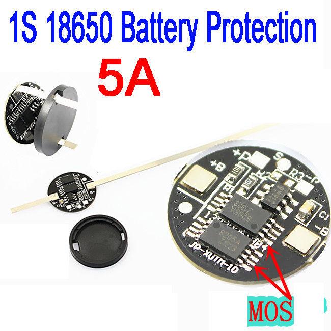 Placa de protección de batería 1S CellS 5A PCB BMS para 1 paquete 3,7 V 18650 batería de litio Li-ion + base de plástico negro