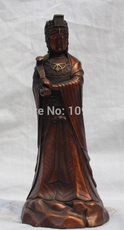 """ביר 002256 9 """"סין ברונזה גואן יין קוואן-yin קיסרית המלכה לקשט את הבית להחזיק את הפסל Ruyi"""