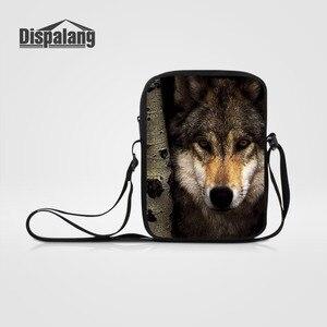 Dispalang Men Women Small Messenger Bags Wolf Animal Print Casual Crossbody Bags Mini Travel Shoulder Bag Kids Handbag