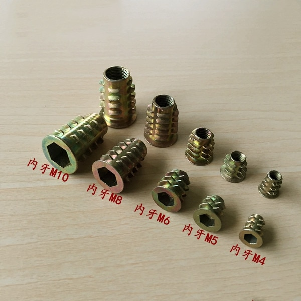 20Pcs M4 M5 M6 M8 M10 Zinc Alloy Thread For Wood Insert Nut Flanged Hex Drive Head Furniture Nuts