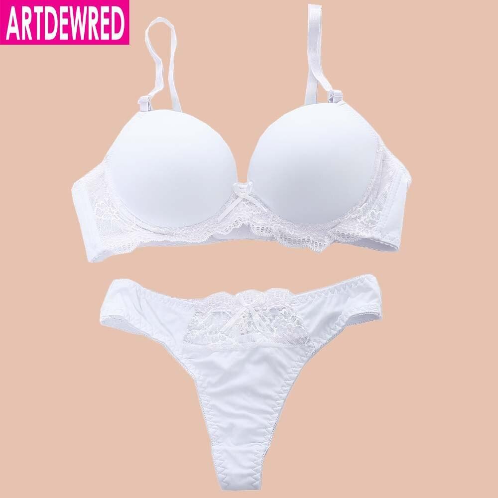 ARTDEWRED Bikini Sexy de moda juego de sostén sin costuras Push Up Plunge Lencería para mujer ropa interior sólida sujetadores conjuntos de Tanga 34-42 Copa ABC