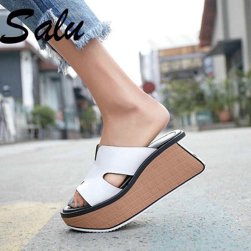 Salu-صندل نسائي بكعب عالٍ من الجلد الطبيعي ، أحذية صيفية أساسية ، أحذية زفاف ، مقدمة مستديرة ، 2020
