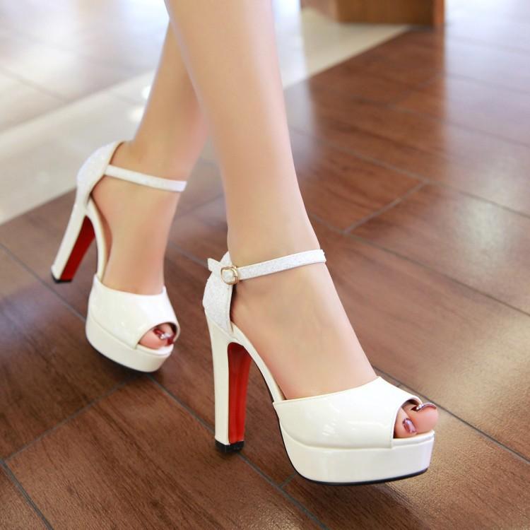 Zapatos gruesos blancos y negros de lujo sexys para mujer, Sandalias de tacón alto con plataforma y lentejuelas, tallas grandes 32-43, sandalias de fondo rojo para mujer