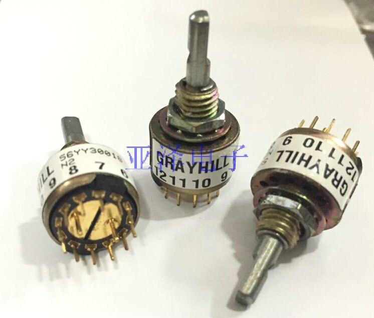 2 PÇS/LOTE O original banda GRAYHILL rotary switch, 360 graus 56YY30018 switch, 2 faca, 6 engrenagem