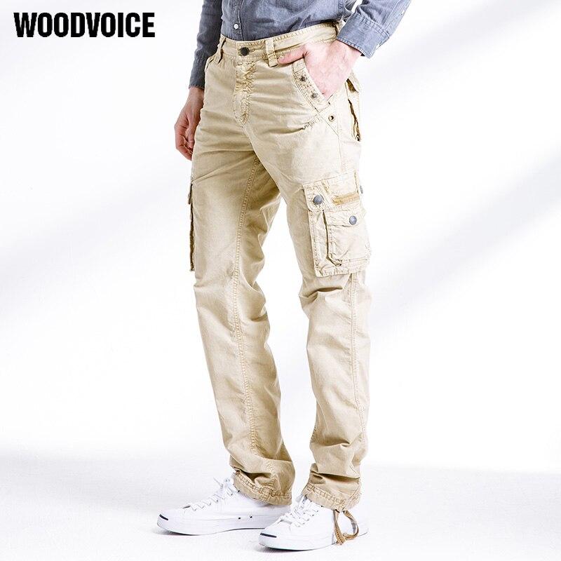 Woodvoice marca Vintage militar pantalones overoles hombre lavado al agua 100% algodón bolsas pantalones 2017 Primavera Verano promoción 3287