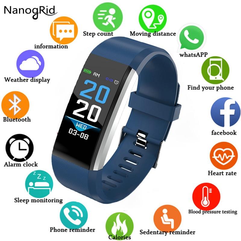 Neue ID115 Plus kinder Uhren Kinder LED Digital Laufende Sport Uhr Für Jungen Mädchen Männer Frauen Elektronische Sport Armband uhr