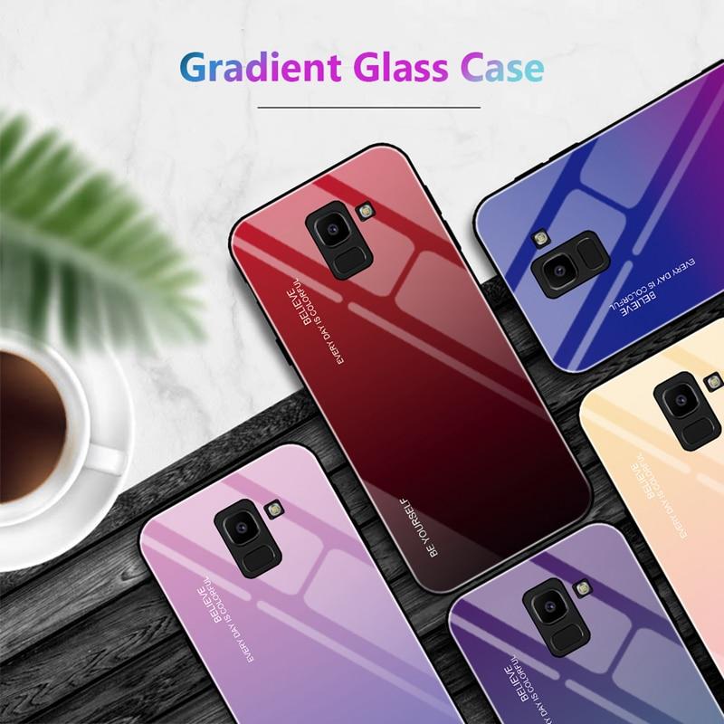 Funda para Samsung Galaxy J4 Plus, J6Plus, J8 2018, carcasa con gradiente de vidrio templado, carcasa de espejo para Samsung J4 J6 2018, Fundas para UE