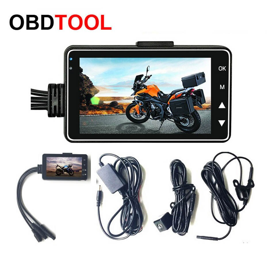 "3 ""1080 P HD motocicleta Cámara DVR Motor cámara de salpicadero con doble pista especial frente grabador trasero lente Dual HD 3 pulgadas videocámara"