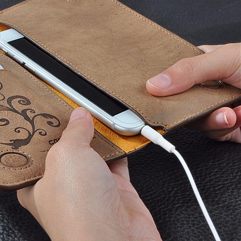 5.5 Uniwersalny Vintage Odwróć Skórzany Portfel Etui Do IPhone 5 6 7 Plus dla HTC Huawei LG Sony Dla Samsung S4 S6 Krawędzi Uwaga 7 Case 6