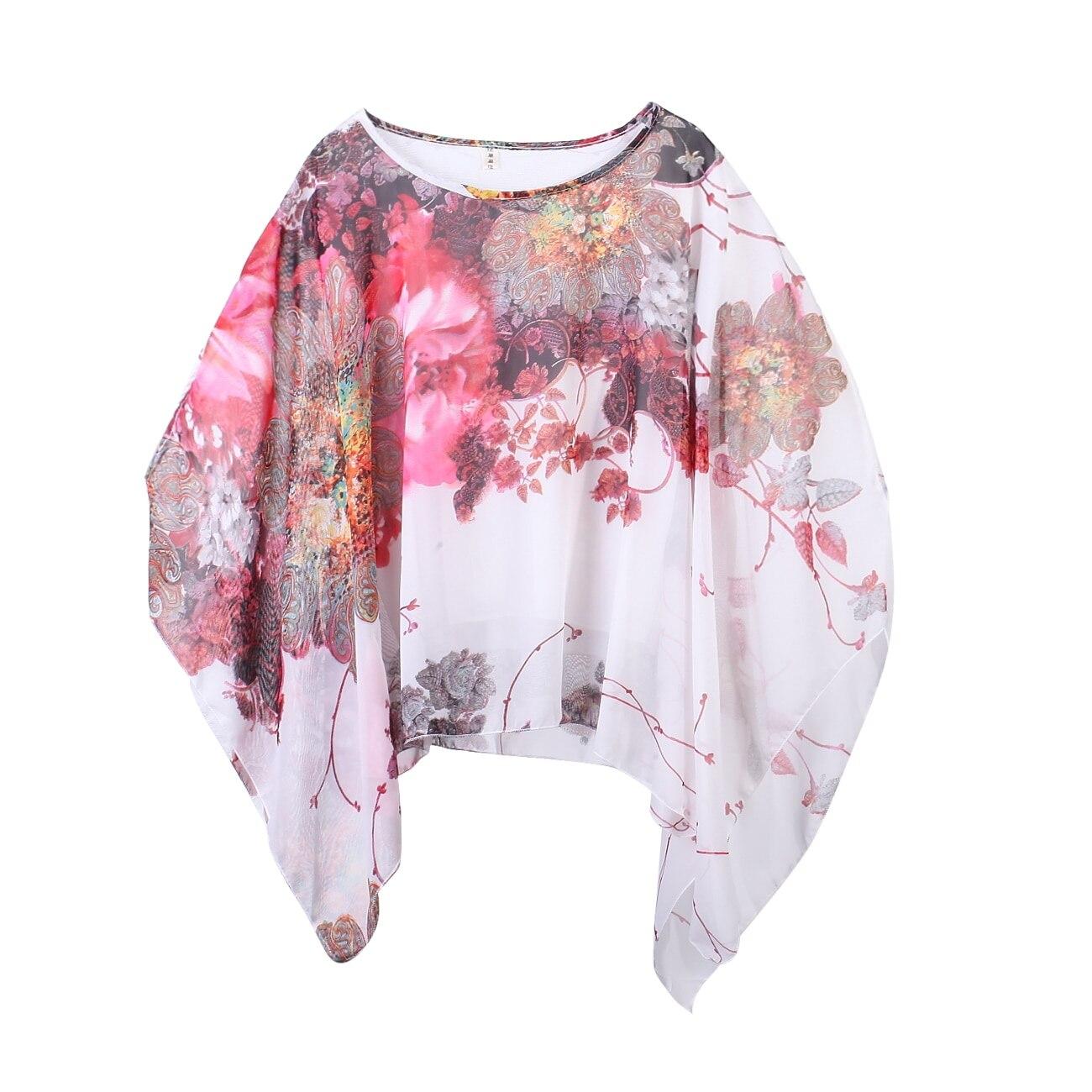 Blusa Sexy bohemia de manga de murciélago suelta para mujer, blusa informal de gasa, camiseta blusa Ponchos
