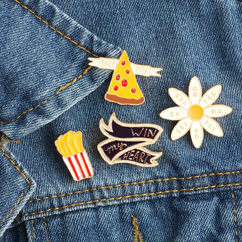 """1 Uds. Fries Pizza """"WIN my HEART"""" icono broche creativo esmalte Pin insignias de solapa de alfiler mujeres clip para bufanda broches de decoración joyería de dibujos animados"""