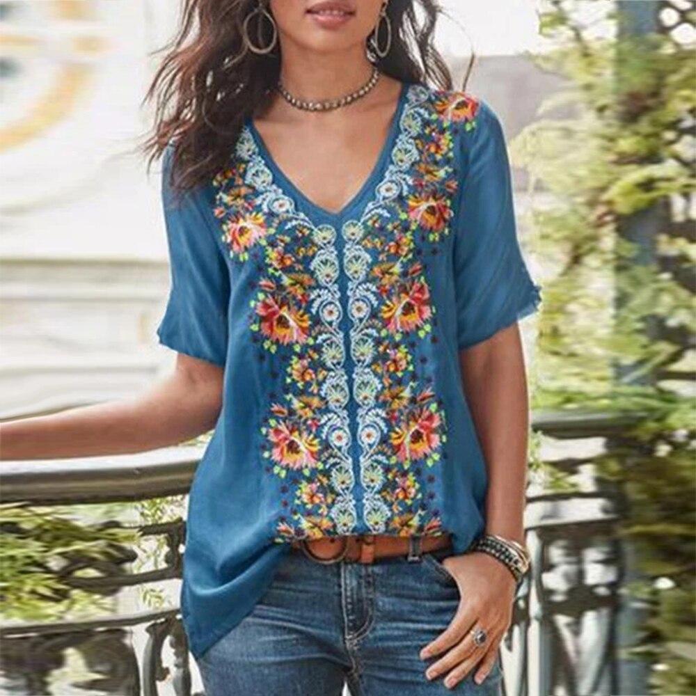 Blusas con estampado Floral Retro Camisas talla grande túnica femenina Vintage manga corta cuello redondo elegante mujeres Tops y blusas Boho camisa