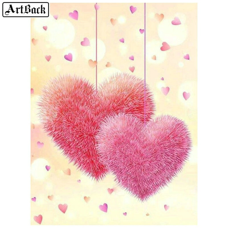 5D diamond painting pink heart icon full square rhinestone diamond embroidery 3d mosaic full round drill skull flower