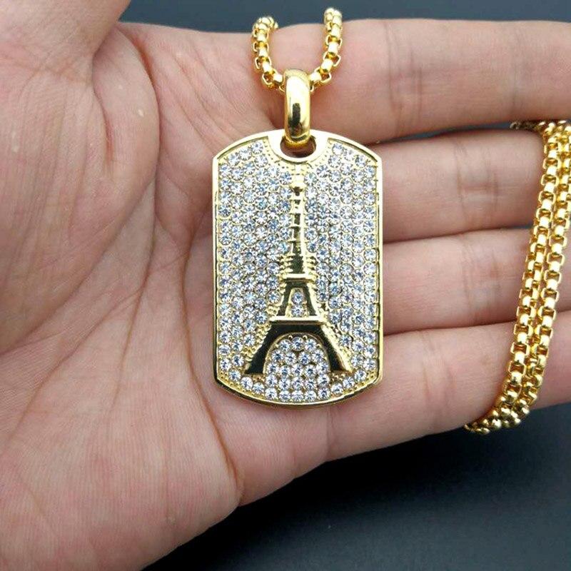 Hip Hop Rock Volle Strass Bling Eis Aus Gold Edelstahl Eiffelturm Quadrat Anhänger Halskette für Männer Rapper Jewerly