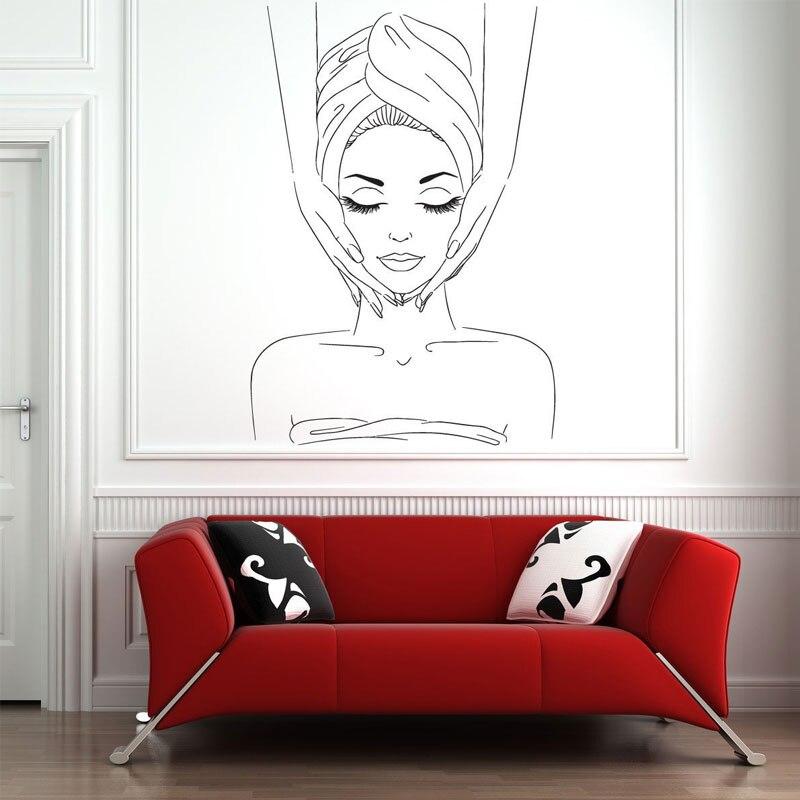 Девушка в купальном массаже креативные наклейки на стену для салона красоты Гостиной фон художественное украшение виниловые наклейки на стены L909