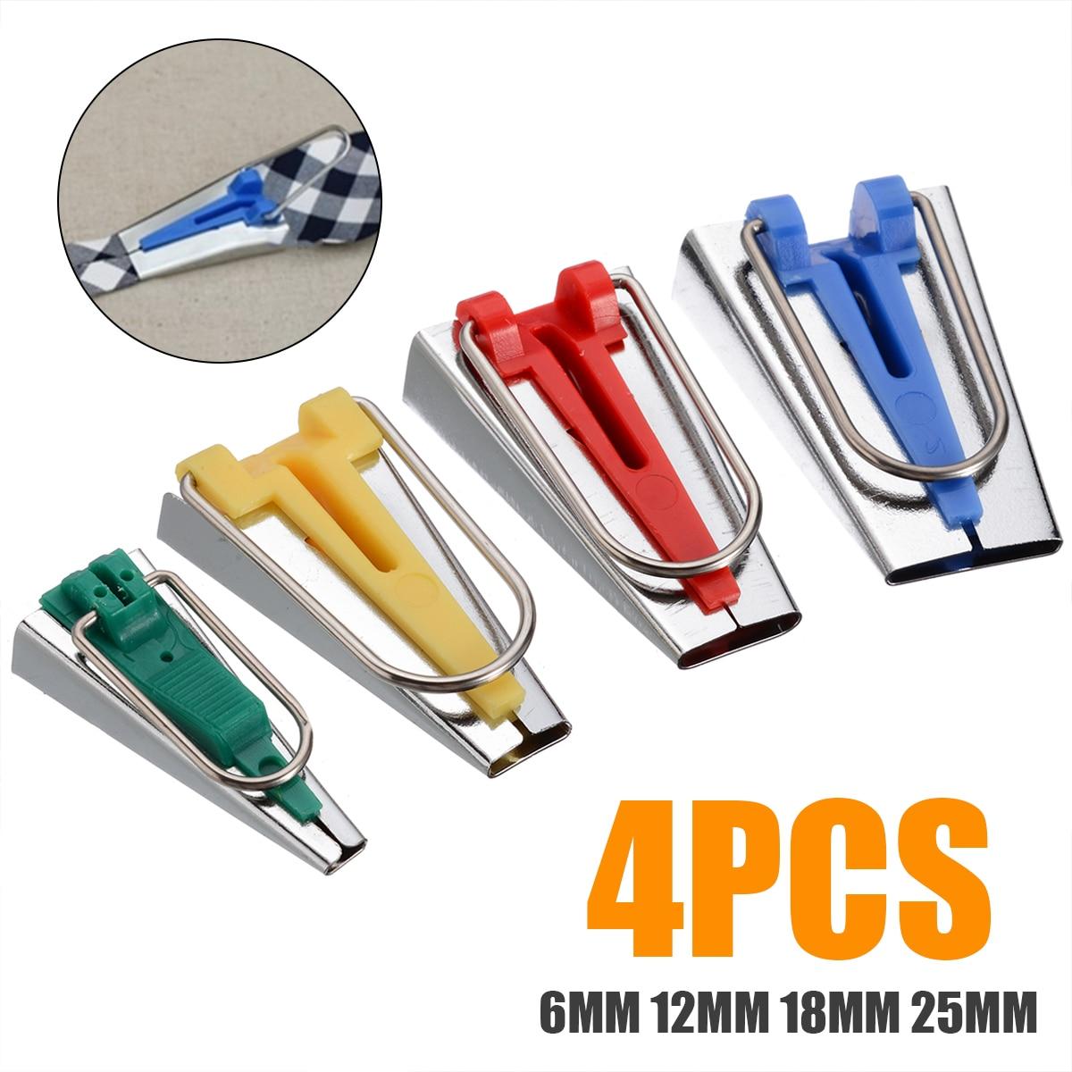 4 pçs/set 6mm 12mm 18mm 25mm 4 tamanhos de fita de viés fabricante ferramenta estofando emperramento tapeçadores conjunto para costura