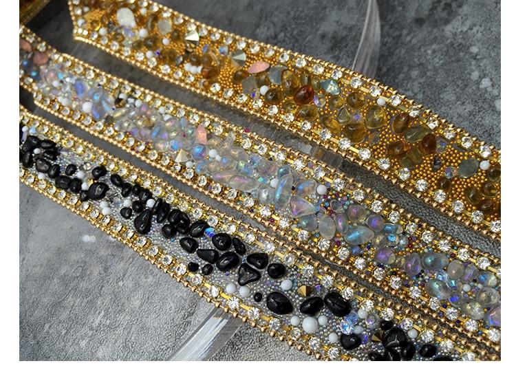 Borde de diamantes de imitación de cuentas de encaje de adorno, diamantes...