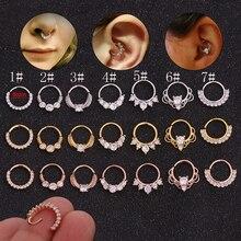 1PC Silber Und Gold Farbe Tribal Indian Nase Piercing Septum Ring Cz Daith Piercing Ohrring Körper Schmuck
