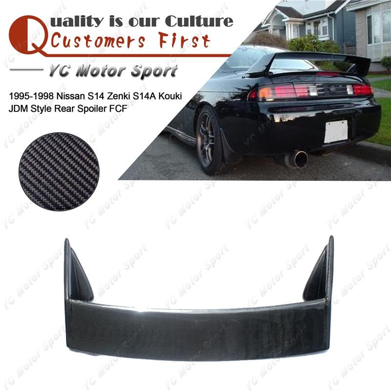 Car Accessories Full Carbon Fiber JDM Kouki Style Rear Spoiler Fit For 1995-1998 S14 Zenki S14A Kouki Trunk Spoiler Wing
