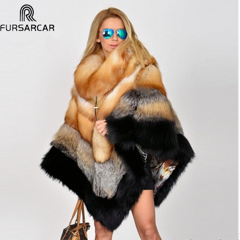 FURSARCAR-معطف من الفرو الحقيقي للنساء ، معطف شتوي فاخر جديد مع ياقة من الفرو ، معطف من الفرو الطبيعي الحقيقي ، سترات شال من الفرو
