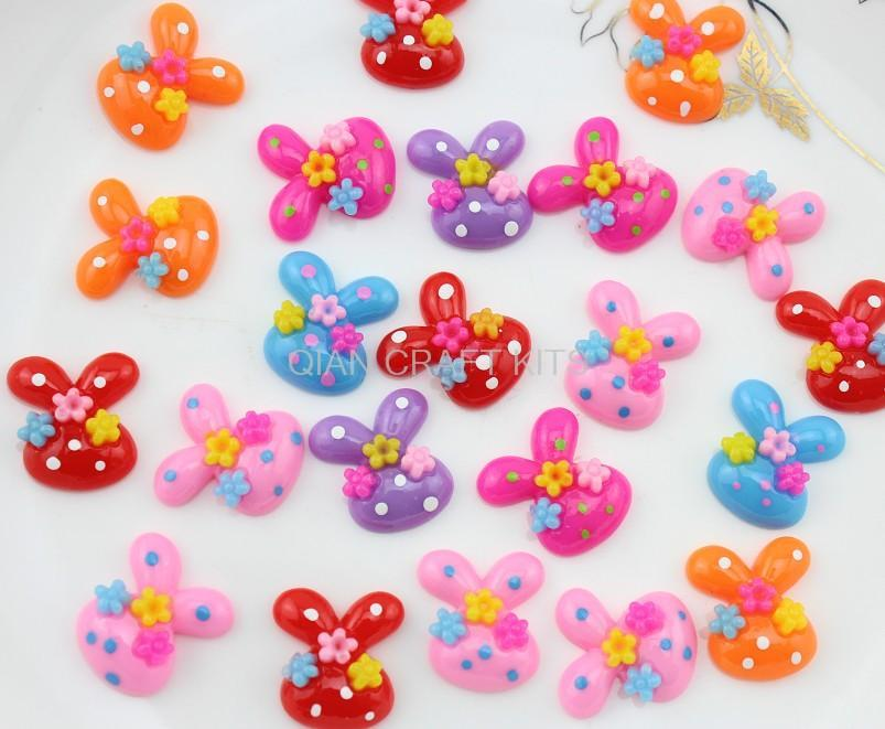 200pcs Resin Rabbit bunny little flower polka dot cabochon for Pendant Charm flatback Scrapbooking,hair clips 20mm-SZ0624 D15