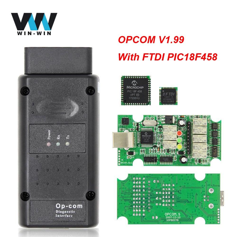 Opcom V1.99 FTDI PIC18F458 2014V OBD2 сканер для Opel op com 1,99 OP-COM OBD 2 OBD2 автомобильный диагностический сканер инструмент CAN-BUS