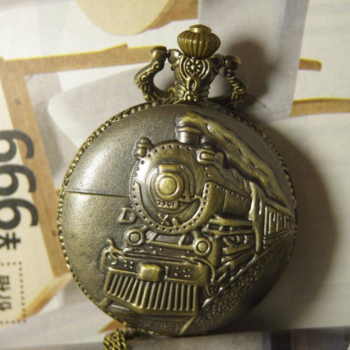Reloj de bolsillo de bronce estilo Retro vintage para hombre 2017 (talla grande) COLLAR COLGANTE tren de vapor América ferrocarril steampunk cuarzo
