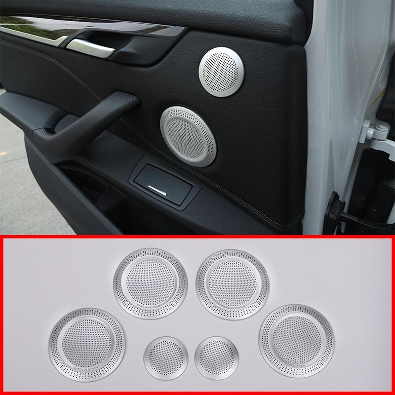 6Pcs Aluminum Alloy Car Door Speaker Cover Trim For BMW X1 F48 2016-2019 Car Accessories