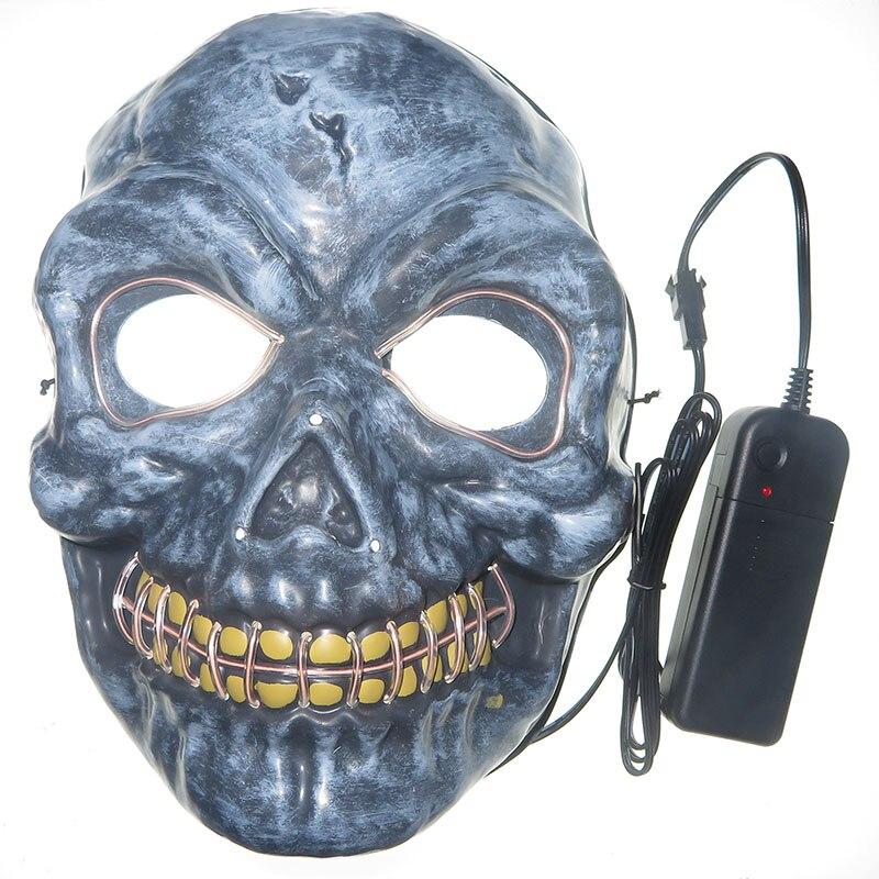 Светодиодная маска светящаяся неоновая с черепом праздничный Карнавальный