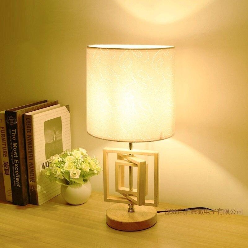 Lámpara de mesa moderna de roble, base de madera, luces de lectura, escritorio, luz nocturna, soporte e27, mini lámpara de noche retro, lámparas para La habitación del hogar