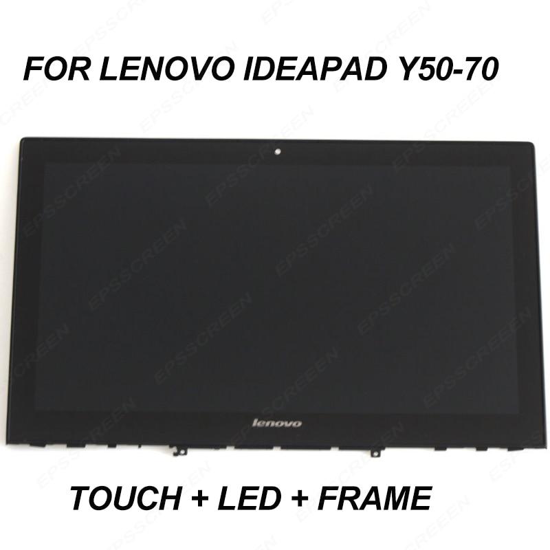 استبدال لينوفو Y50-70 Lcd لوحة تعمل باللمس محول الأرقام و الإطار الحافة 15.6
