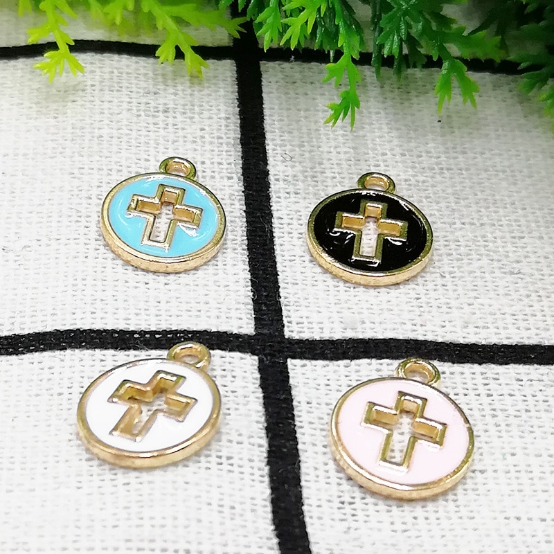MRHUANG 10 unids/lote 12mm Cruz redonda flotante esmalte encantos aleación colgante apto para collares pulseras DIY mujer joyería de moda