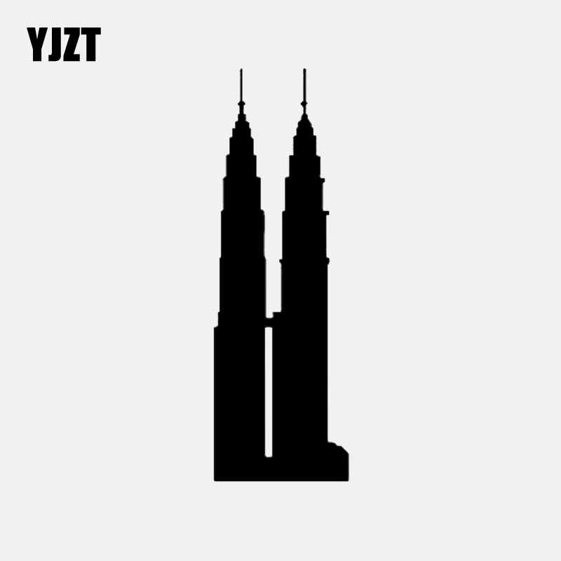 YJZT 4,3 CM * 13CM Torres Petronas Malasia pegatina de coche vinilo pegatina edificios negro/plata C3-1881