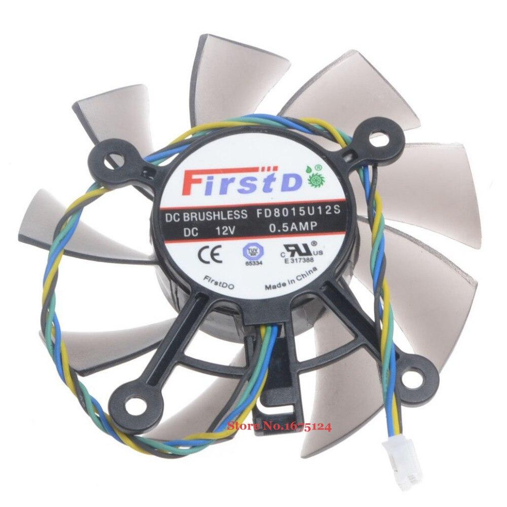 FD8015U12S 75mm DC 12V 0.5A 4 Cable de VGA GPU ventilador para Radeon HD 7770, 8600, 9800g refrigeración de tarjeta gráfica de vídeo
