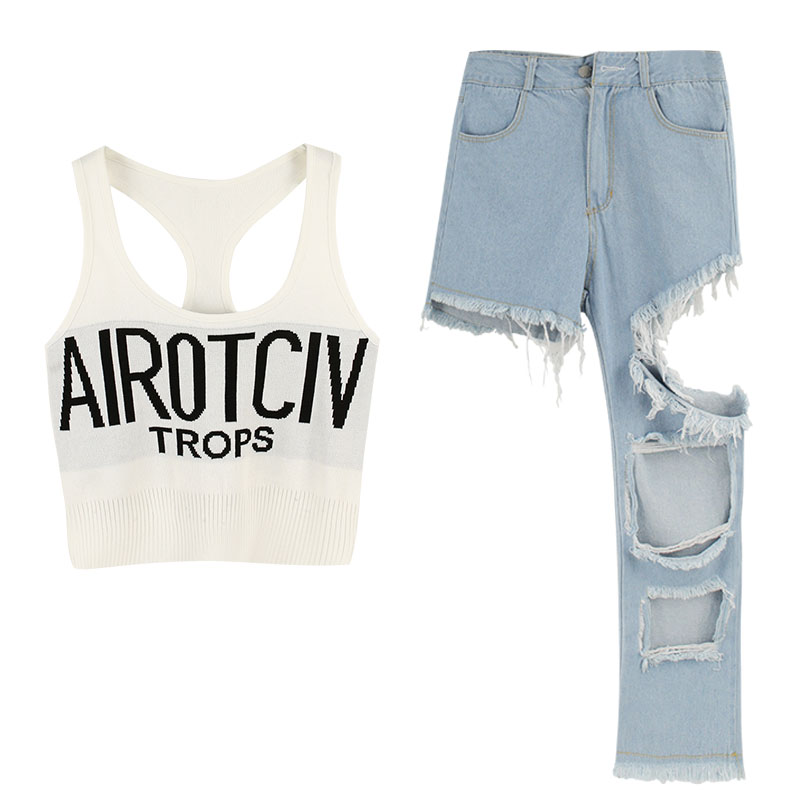 Summer letter print camisole tank top + irregular hole beggar jeans women 2 pieces casual set