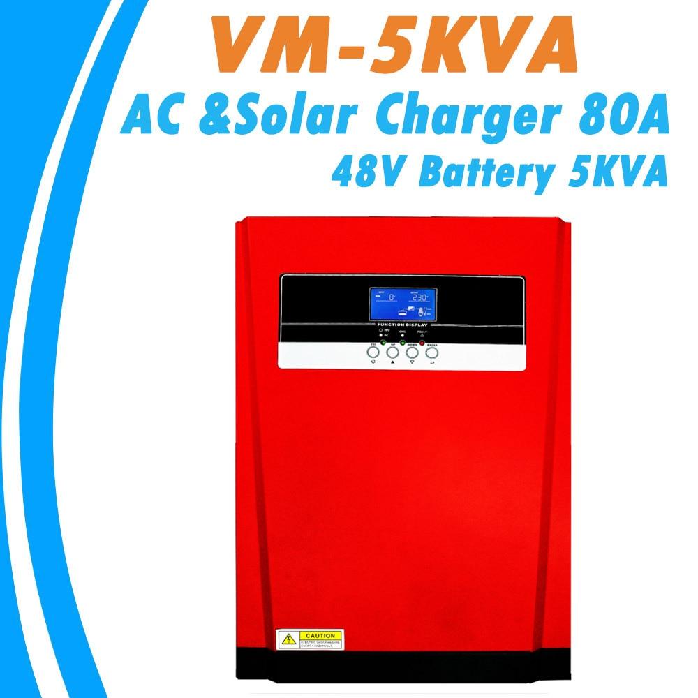 5000 Вт Чистая Синусоидальная волна, гибридный солнечный инвертор MPPT 80A, зарядное устройство для солнечной панели и зарядное устройство перем...