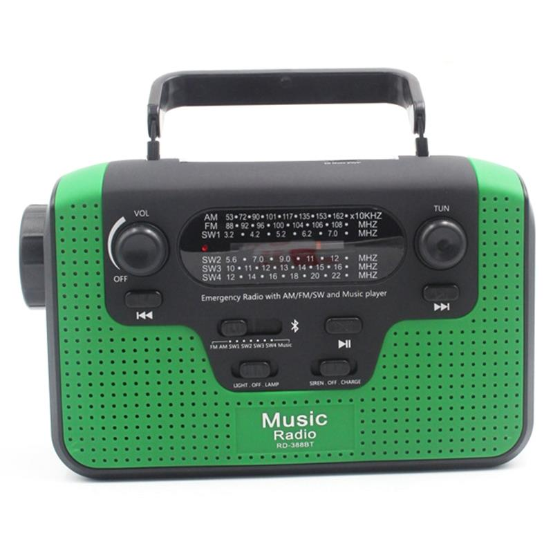 Hot TTKK Portable Outdoor Fm Radio With Bluetooth Mp3 Player Hand Crank Solar Emergency Radio Solar Radios World Receiver With